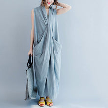 Load image into Gallery viewer, Gray cross bust cotton summer dresses oversize long maxi dress gown caual traveling dress