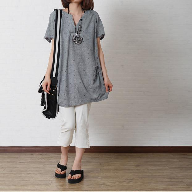 Gray dotted print women cotton shirt loose top oversize blouse