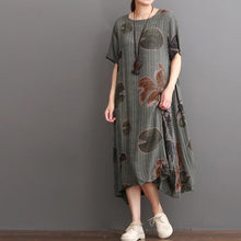 Laden Sie das Bild in den Galerie-Viewer, Gray green linen dress summer maxi dress long floral sundress