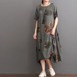 Gray green linen dress summer maxi dress long floral sundress