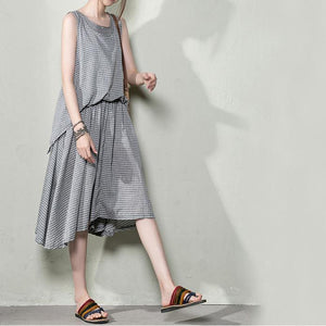 Gray grid layered cotton dress casual dresses for summer