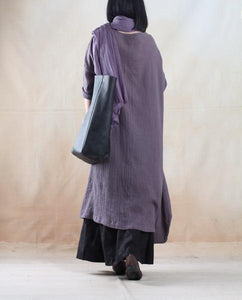Gray holiday linen maxi dress oversize Asymmetric caftan dresses - My freedom