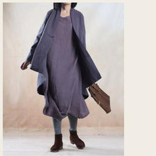 Laden Sie das Bild in den Galerie-Viewer, Gray holiday linen maxi dress oversize Asymmetric caftan dresses - My freedom