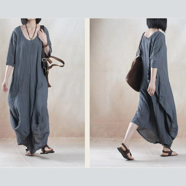 Gray line dress summer maxi dress short sleeve
