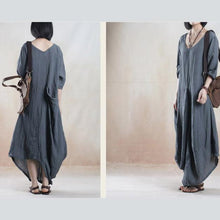 Load image into Gallery viewer, Gray line dress summer maxi dress short sleeve