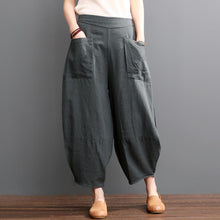 Laden Sie das Bild in den Galerie-Viewer, Gray linen bloomers women pants summer knickers