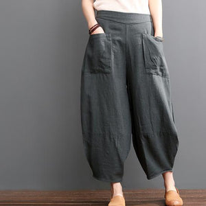 Gray linen bloomers women pants summer knickers