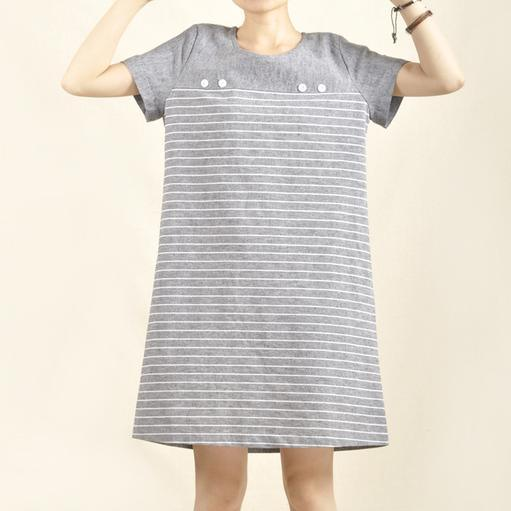 Gray linen summer dress striped causal dress