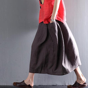 Gray linen summer skirts A line casual skirts women plus size clothing