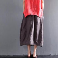 Load image into Gallery viewer, Gray linen summer skirts A line casual skirts women plus size clothing