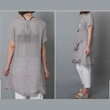 Load image into Gallery viewer, Gray linen sundress layered oversize linen summer dresses-will be available soon