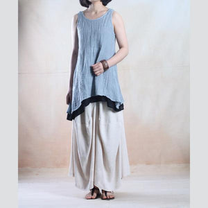 Gray linen tank tops layered blouse oversize