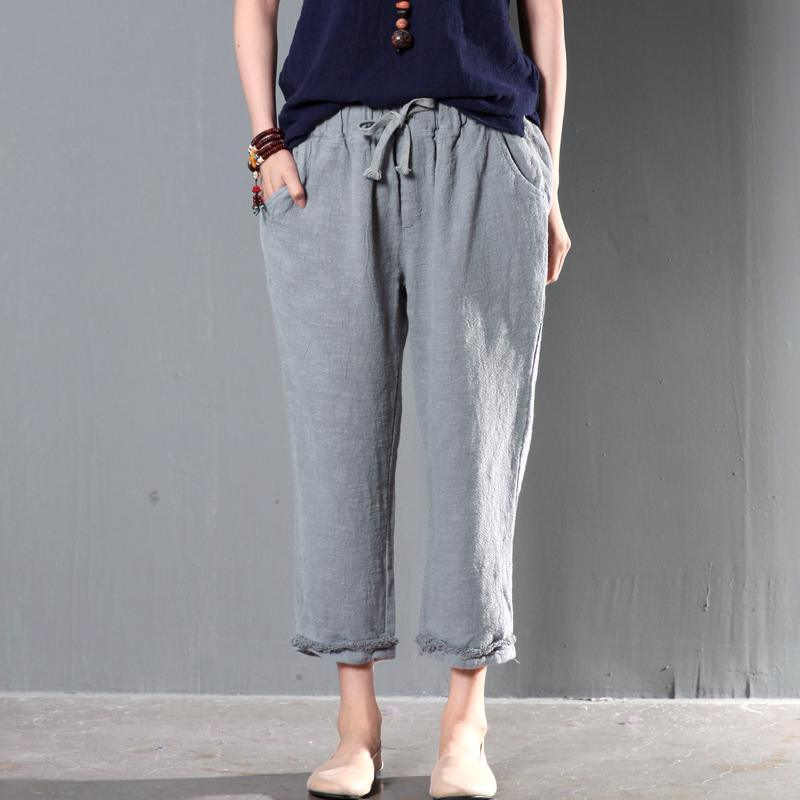Gray linen women pants oversize trousers
