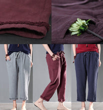 Load image into Gallery viewer, Gray linen women pants oversize trousers