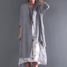 Load image into Gallery viewer, Gray long sleeve summer dress layered cotton maxi dresses plus size casual floral inside asymmetrical