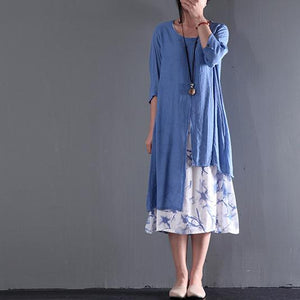 Gray long sleeve summer dress layered cotton maxi dresses plus size casual floral inside asymmetrical