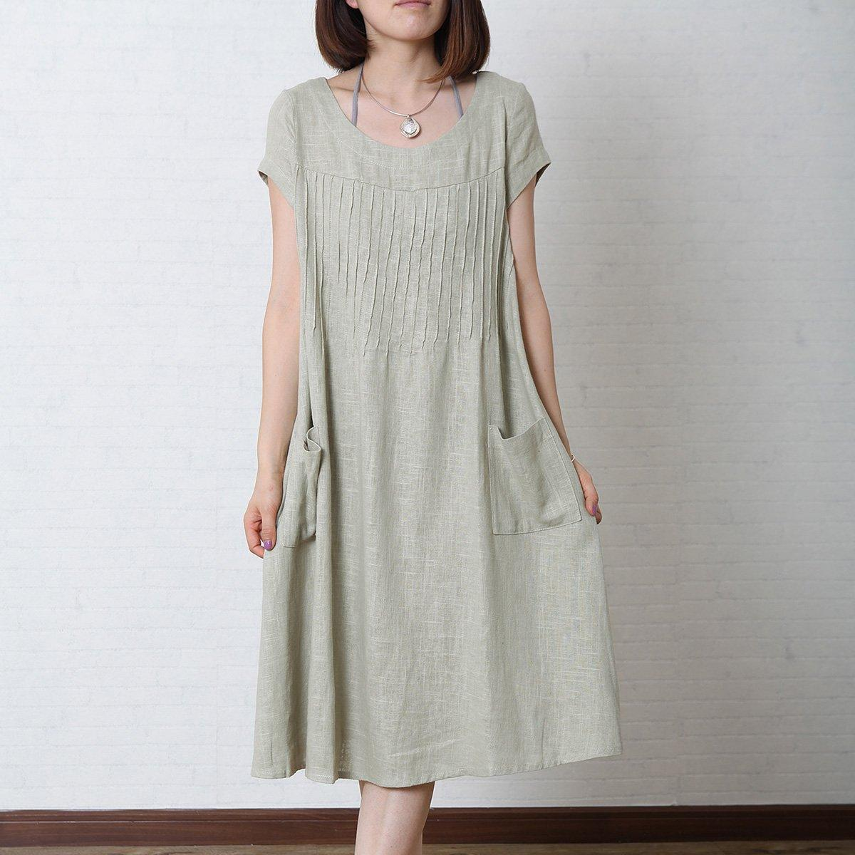 Gray loose linen summer maxi dress oversize cotton sundress
