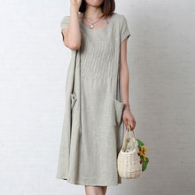 Load image into Gallery viewer, Gray loose linen summer maxi dress oversize cotton sundress