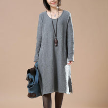 Laden Sie das Bild in den Galerie-Viewer, Gray loose sweater dresses oversize sweaters blouses