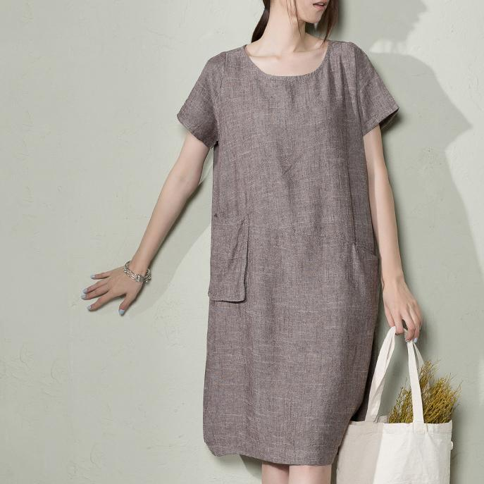 Gray natural linen sundress oversize summer linen maxi dresses plus size caftan