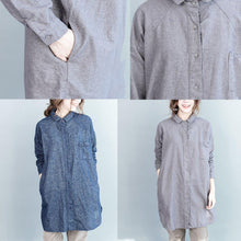 Load image into Gallery viewer, Gray oversize long seeve cotton blouse plus size cotton dresses