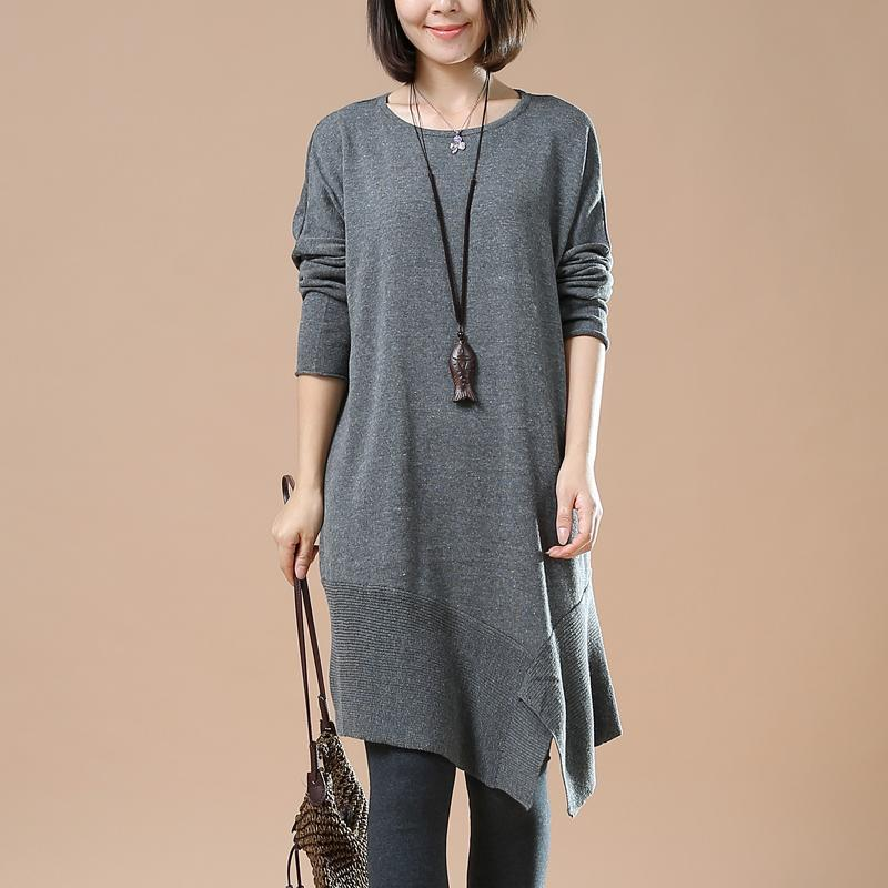 Gray oversized sweaters asymmetrical design knit dress