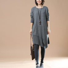 Laden Sie das Bild in den Galerie-Viewer, Gray oversized sweaters asymmetrical design knit dress