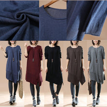Load image into Gallery viewer, Gray oversized sweaters asymmetrical design knit dress