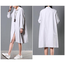 Load image into Gallery viewer, Gray plus size cotton blouse women shirt dress spring dresses