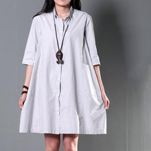 Load image into Gallery viewer, Gray plus size cotton summer dress oversize maternity dress causal shirt