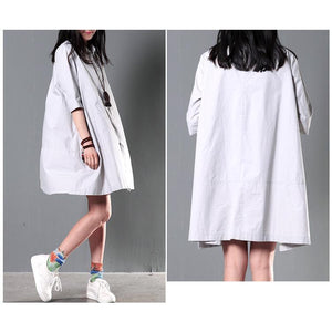 Gray plus size cotton summer dress oversize maternity dress causal shirt
