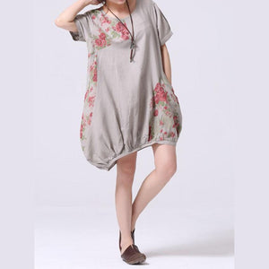Gray print oversize sundress cotton shirt dress-will be available soon