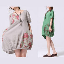 Load image into Gallery viewer, Gray print oversize sundress cotton shirt dress-will be available soon