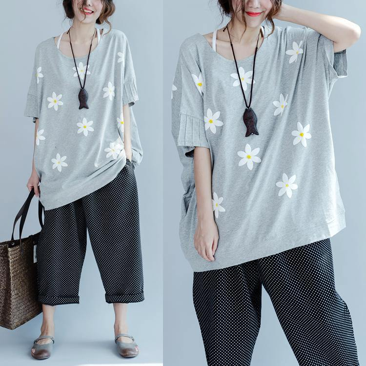 Gray short sleeve cotton t shirts plus size tops cotton blouses causal style