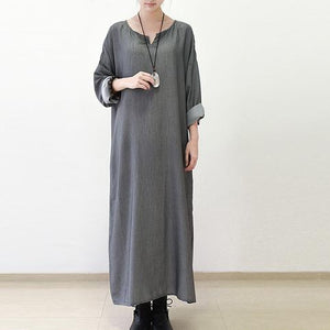 Gray silk dresses fall maxi dress top quality long sleeve maxi dress