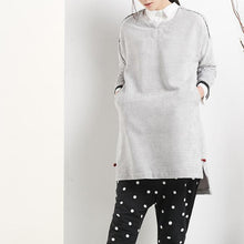 Load image into Gallery viewer, Gray spring dresses with long sleeves oversize women shirt top blouse