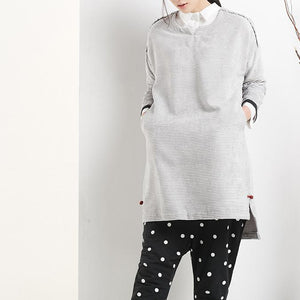 Gray spring dresses with long sleeves oversize women shirt top blouse