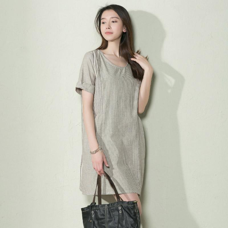 Gray stripe linen sundress summer long blouse shirt shift dress