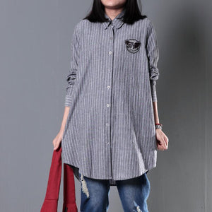 Gray striped spring shirt women cotton blouse plus size top