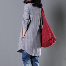 Load image into Gallery viewer, Gray striped spring shirt women cotton blouse plus size top