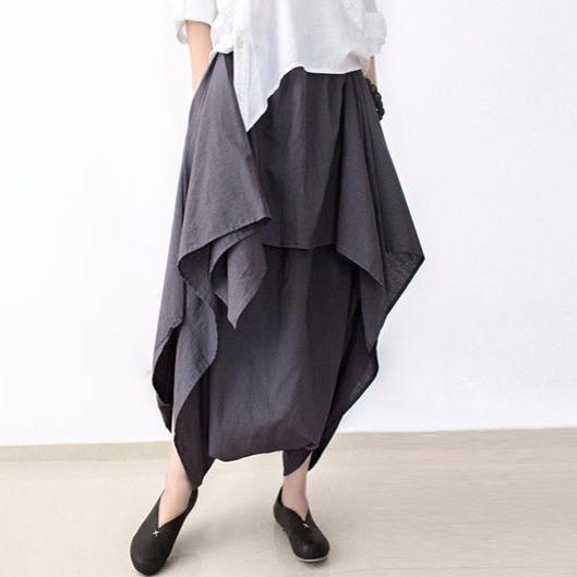 Gray stylish layered pants loose skirt pants cotton linen trousers
