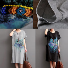 Load image into Gallery viewer, Gray summer causal dresses plus size cotton dresses sundress