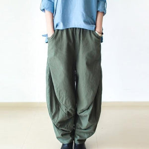 Tea green wide leg linen pants  New