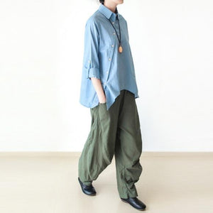 Tea green wide leg linen pants 2016 New