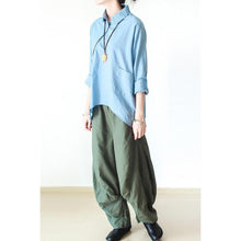 Load image into Gallery viewer, Tea green wide leg linen pants  New