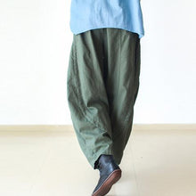 Laden Sie das Bild in den Galerie-Viewer, Tea green wide leg linen pants 2016 New