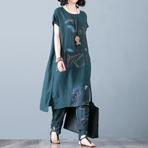 Green Unique cotton quilting two pieces Indian Cotton Linen Spliced Blouse And Harem Pants