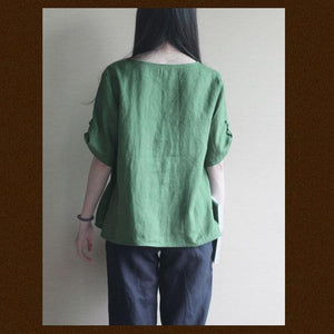 Green Linen women shirt top oversize pullover blouse