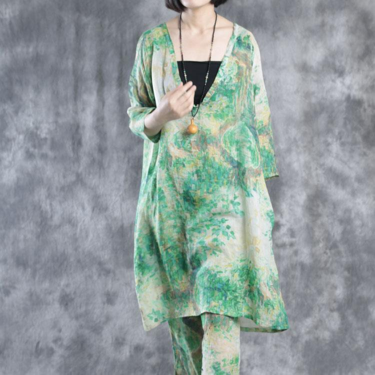 Green V neck linen dresses oversize caftans plus size