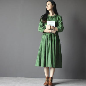 Green Vintage linen fit flare dress cotton sundress with three quarters sleeves